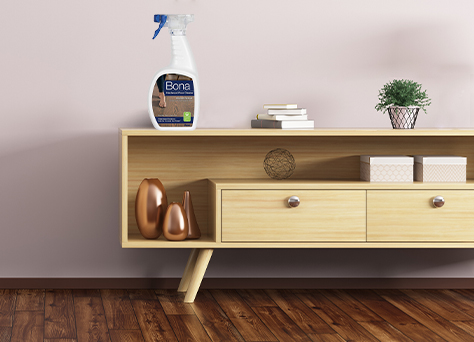 bona hardwood floor cleaner on a console table