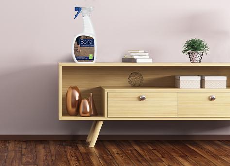 bona hardwood floor cleaner on a console table